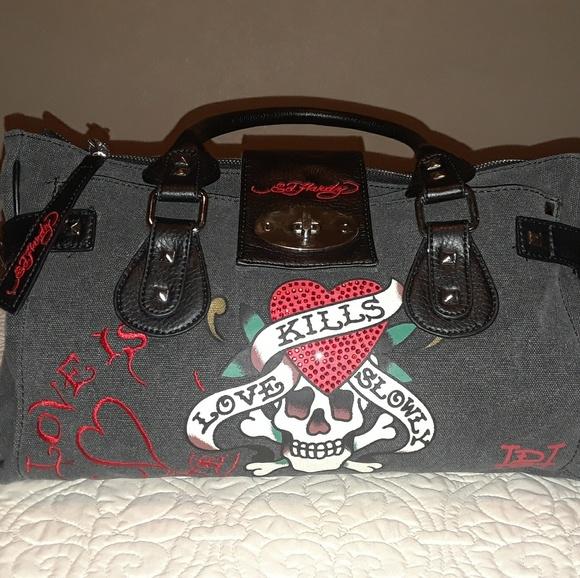 477b68349909 Ed Hardy Handbags - Ed hardy love kills slowly purse